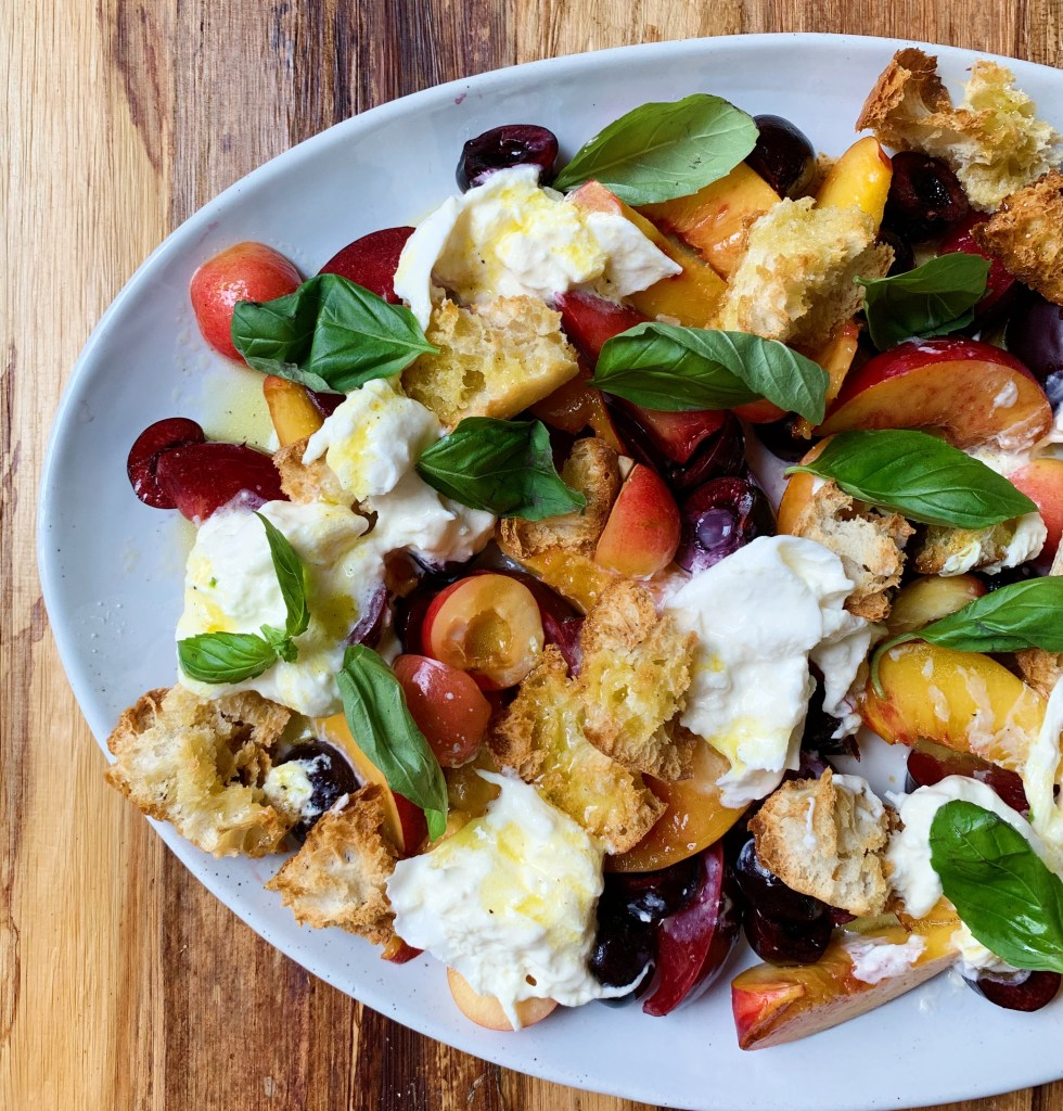 example of salad; cherry peach panzanella