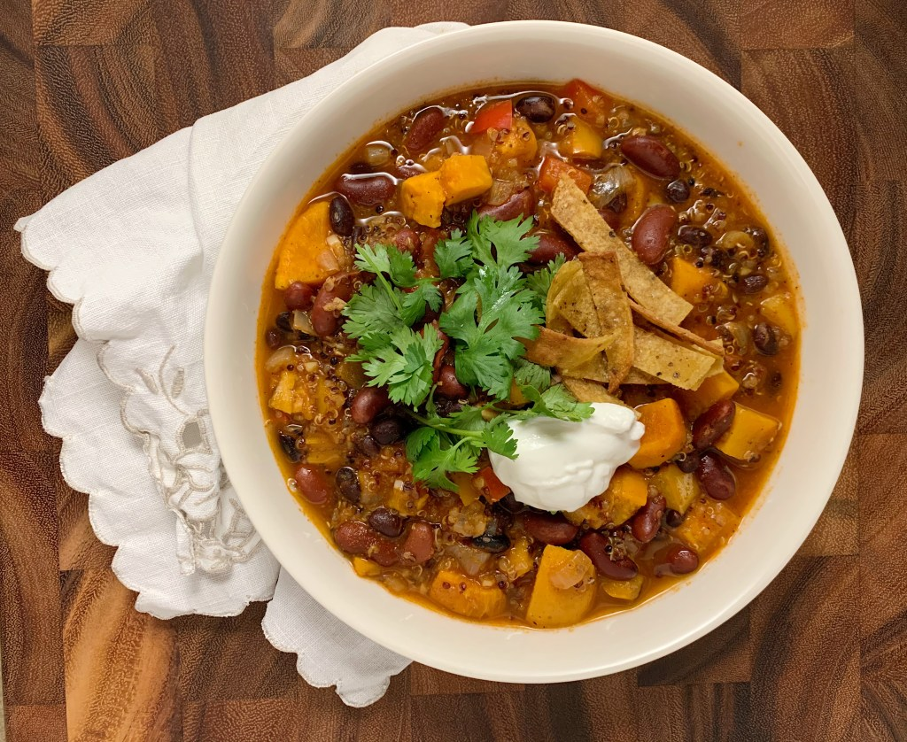 vegetarian instant pot chili with quinoa and black beans