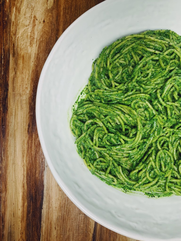 vegetarian weeknight pesto pasta