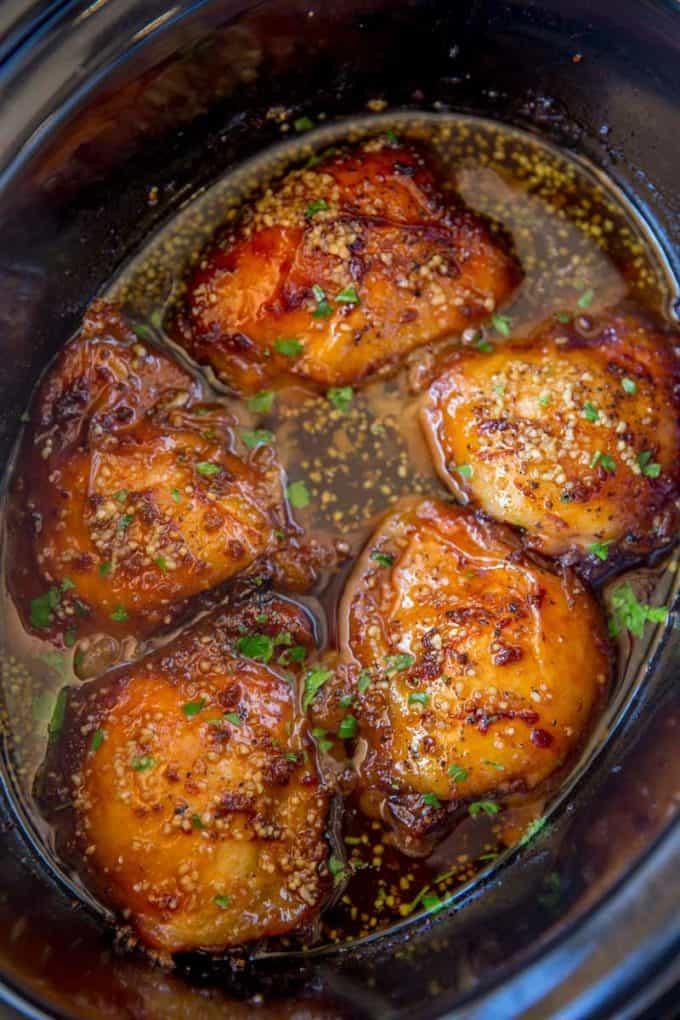 Slow Cooker Brown Sugar Garlic Chicken - Dinner, then Dessert