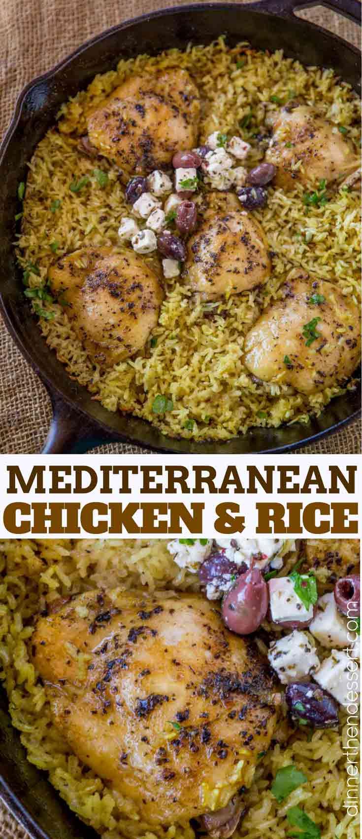 One Pot Greek Mediterranean Chicken and Rice  Dinner
