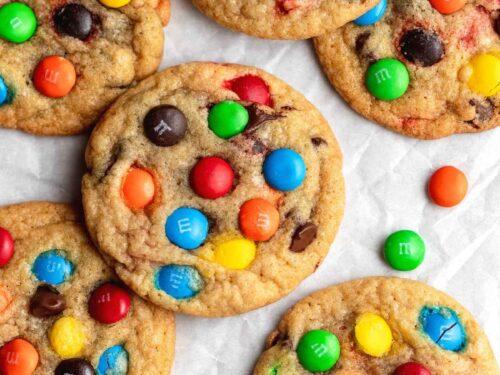 M&M Cookies on baking sheet