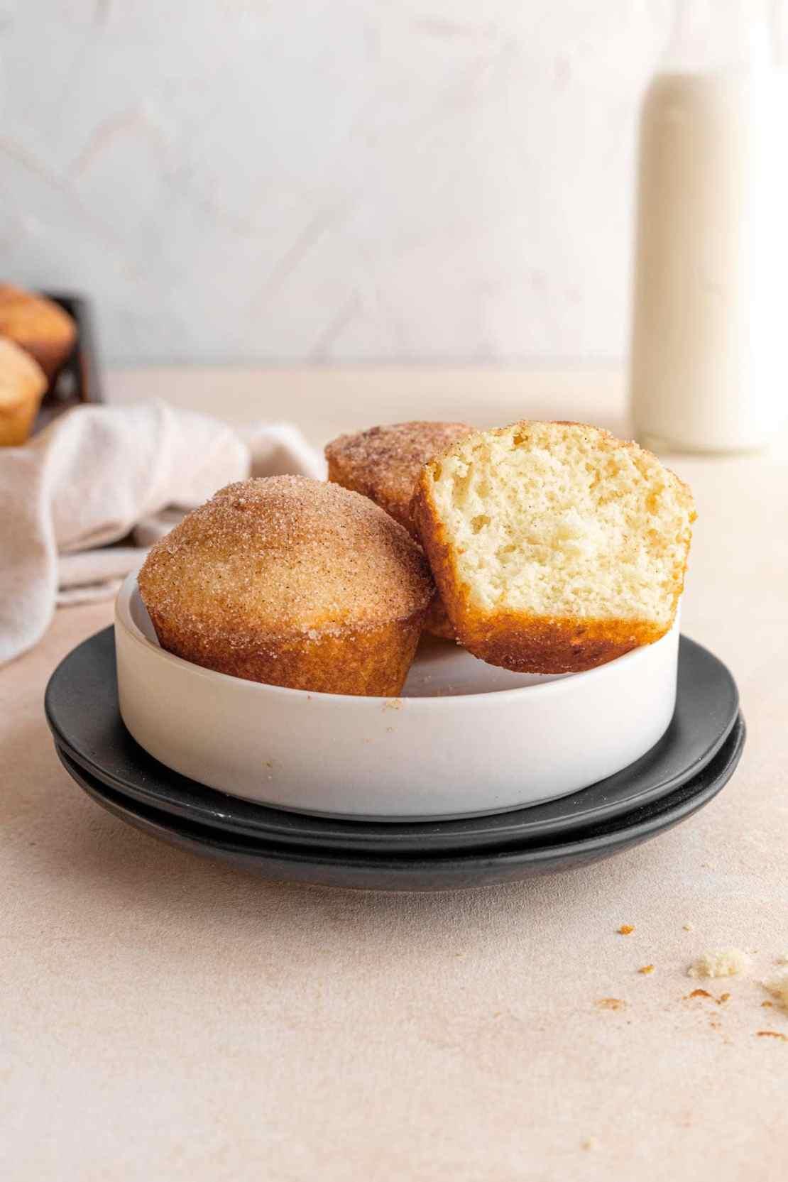 Close up of Mini Doughnut Muffins in serving bowl