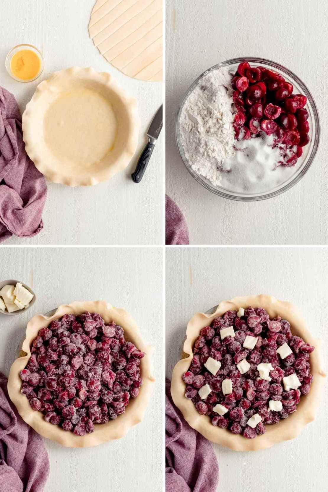 Collage of Cherry Pie filling steps