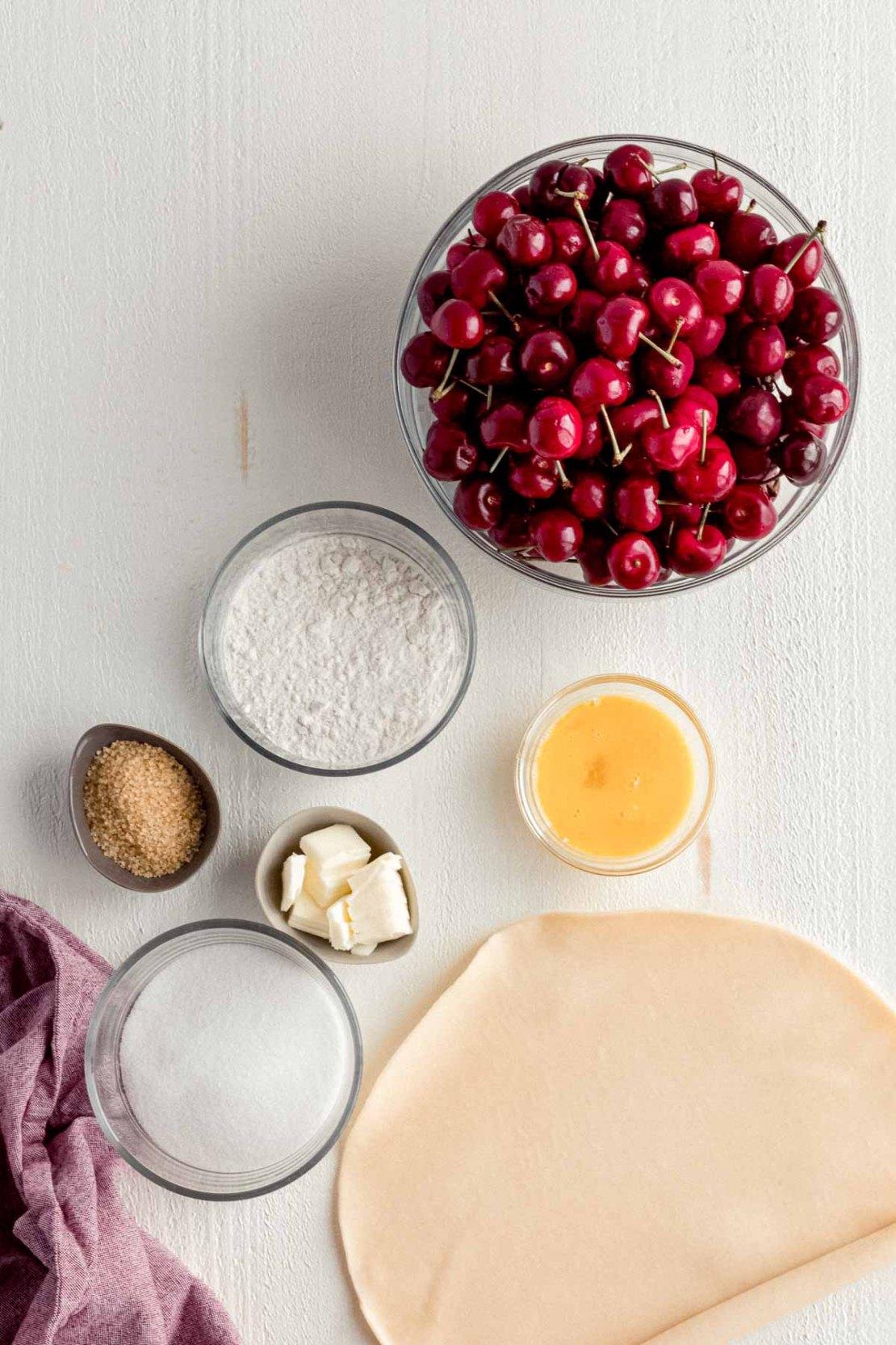 Cherry Pie ingredients in prep bowls