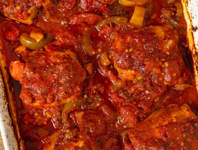 Baked Chicken Cacciatore top-down view in baking dish