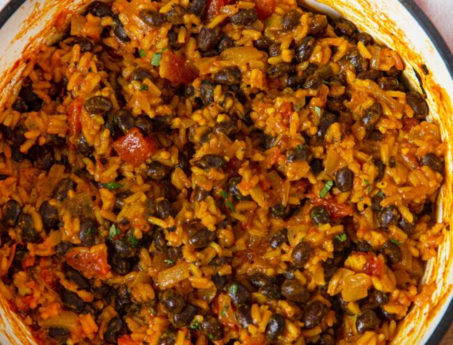 Black Beans and Rice top-down in pot