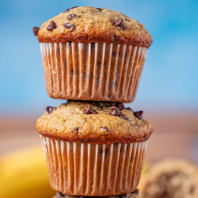 Chocolate Chip Banana Muffins in stack