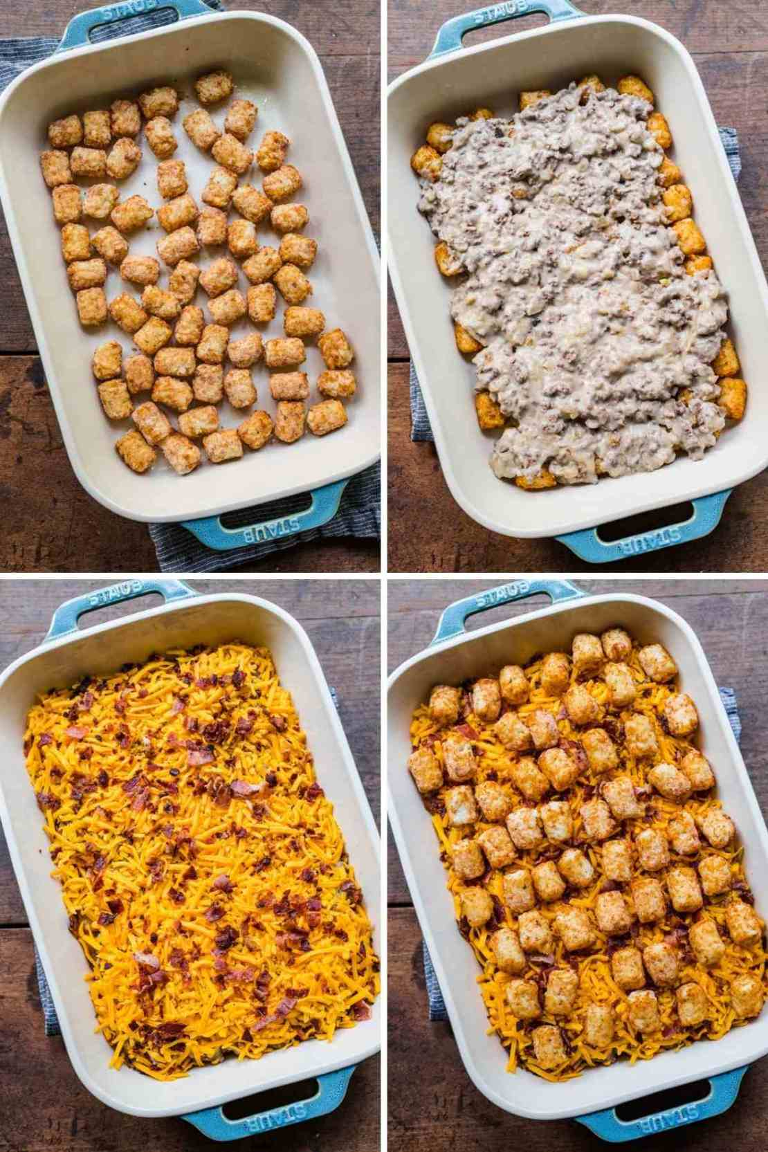 Collage of Bacon Cheeseburger Tater Tot Casserole assembly