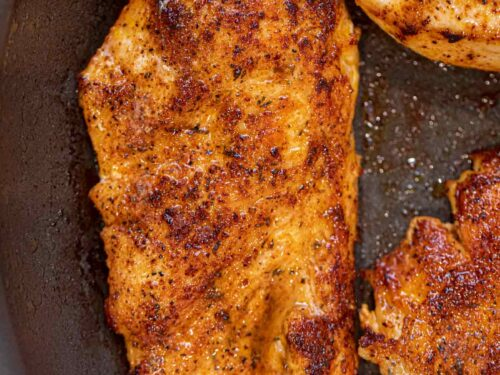 Blackened Chicken in frying pan