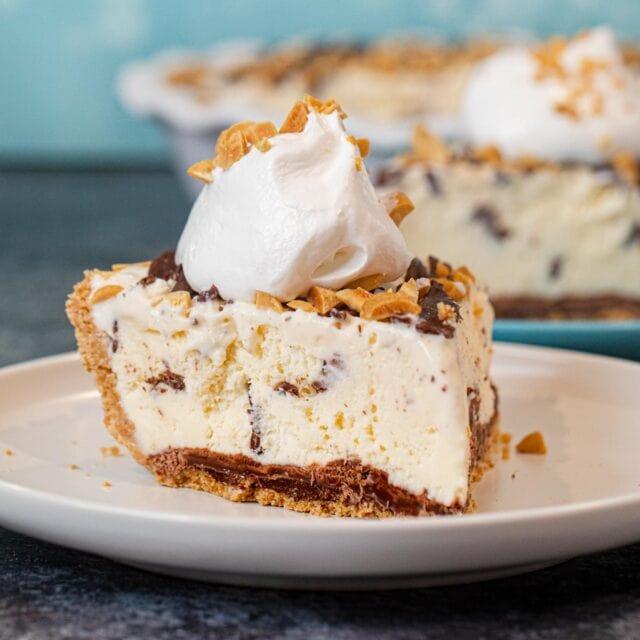 Slice of Ice Cream Sundae Pie on plate