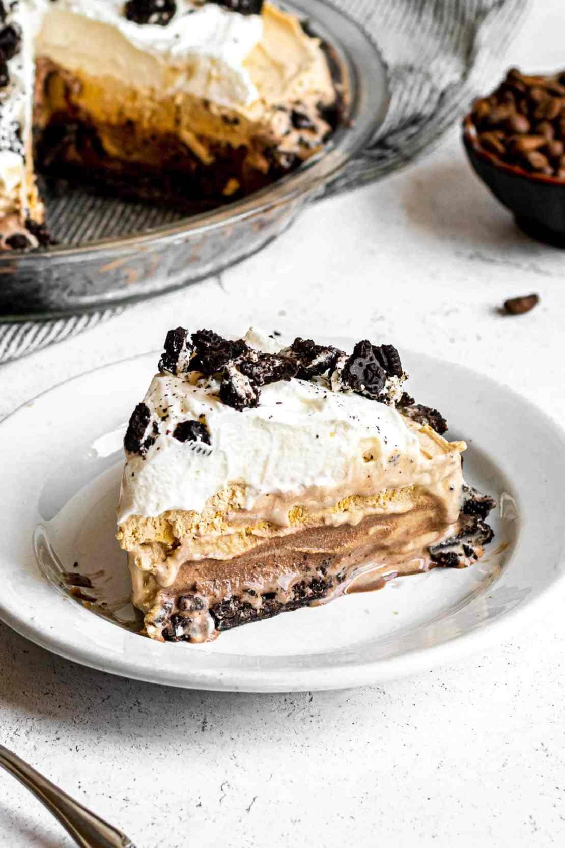 Frozen Mud Pie slice on serving plate
