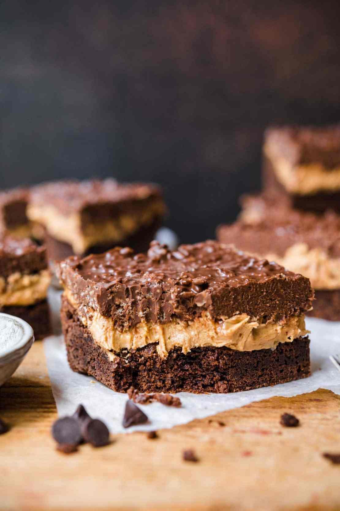 Crispy Chocolate Peanut Butter Brownie Bars on cutting board