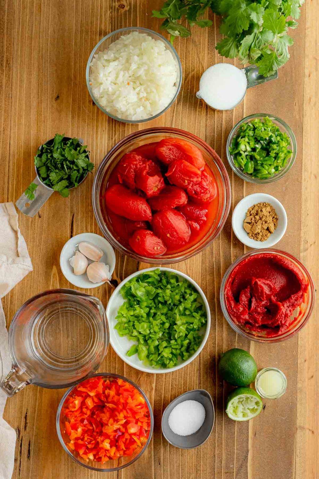 Ingredients for Easy Cooked Jar Salsa in prep bowls