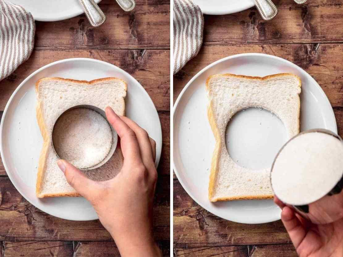 Egg in a Hole bread with circle cutter before and after removing circle