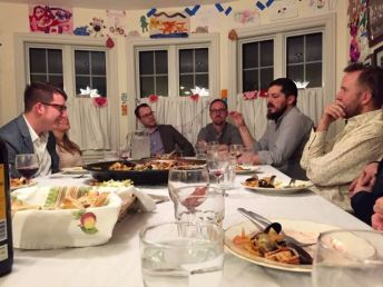 """Glass Block dinner guests participate in """"sobremesa,"""" the conversation that follows a meal."""