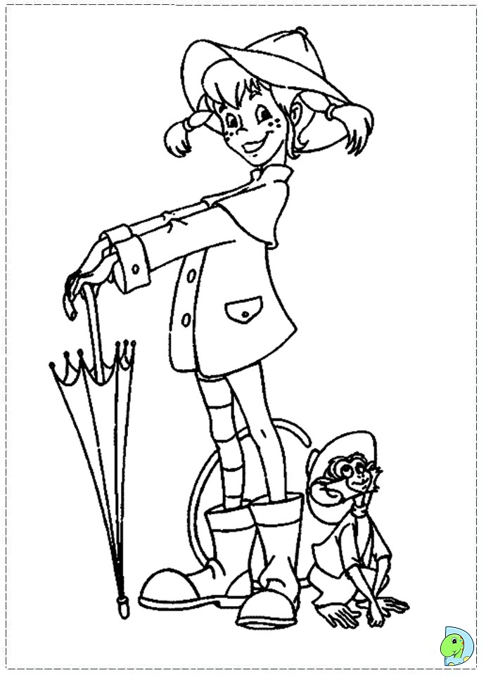 Pippi Longstocking Coloring pages for kids- DinoKids.org