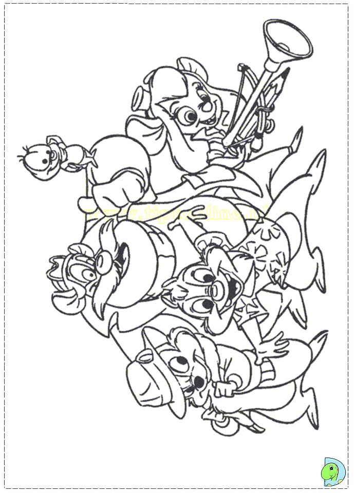 chip and dale coloring pages dinokids