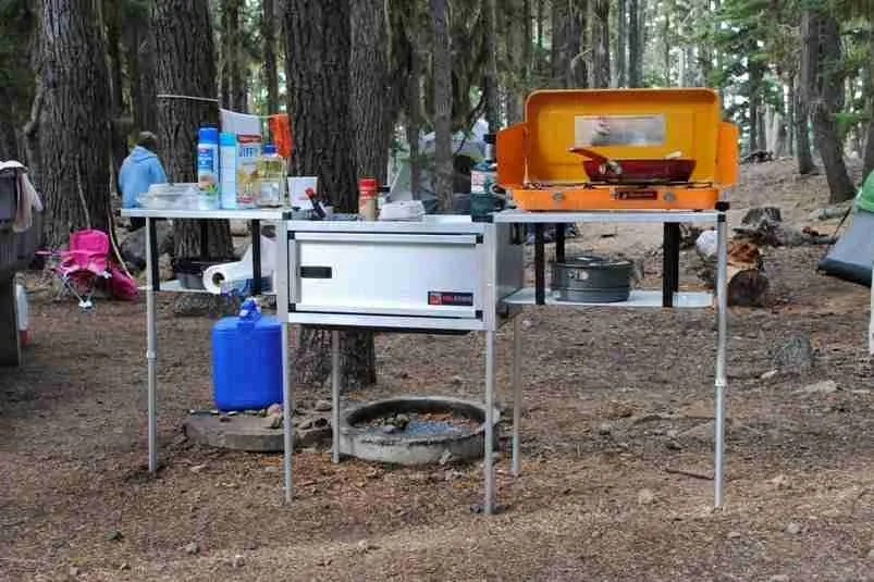 Jeep Trailer  Camping Kitchen Open at Campsite