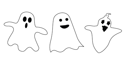Scary White Ghost Cardboard Cutout Standup (Set of 3