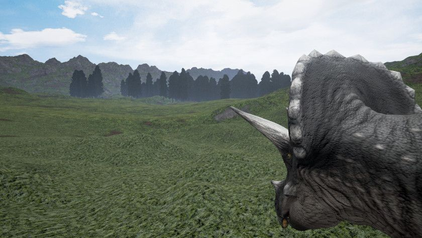 playing a triceratops in the isle