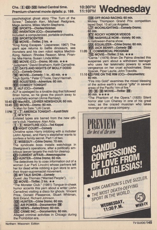TV Guide listings for Halloween 1990! Dinosaur Dracula!