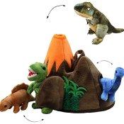 XL Set _ 3 Stück Fingerpuppen + große Dinowelt - Spielset - incl. Dinosaurier / Tyrannosaurus Rex - Handspielpuppen - Handpuppe für Finger - Tiere Dino / Kasperletheater - für Kinder & Erwachsene - Plüschtier - Dinos - Tier / Spielwelt Fingerpuppe - Kasperlfigur / Saurier - Vulkan