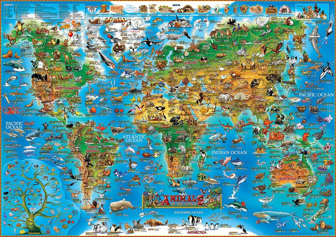 Children S Map Of Animals Amp Prehistoric World