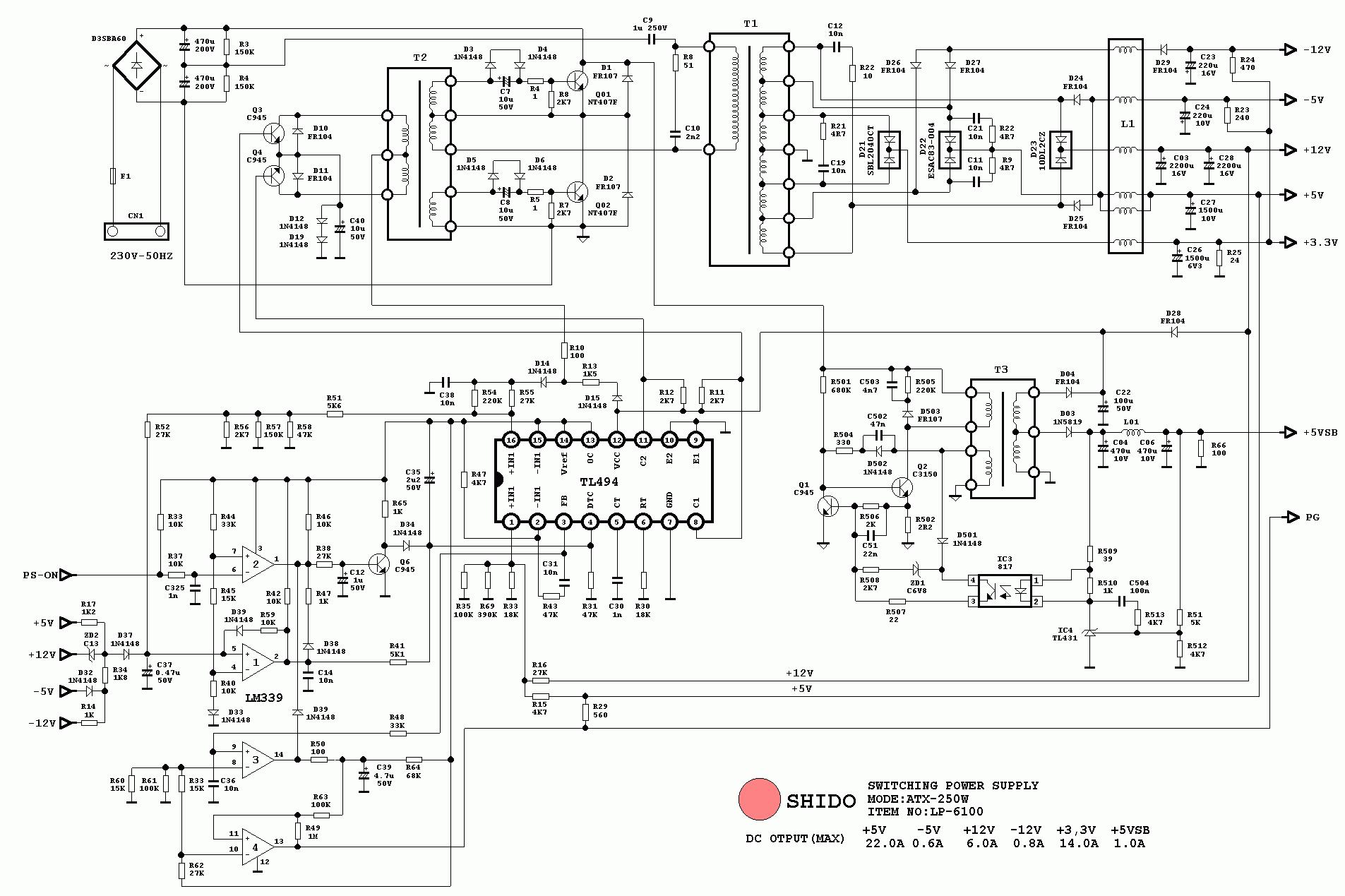 atx 450w smps circuit diagram club car 36 volt wiring cхемы компьютерных блоков питания - diodnik