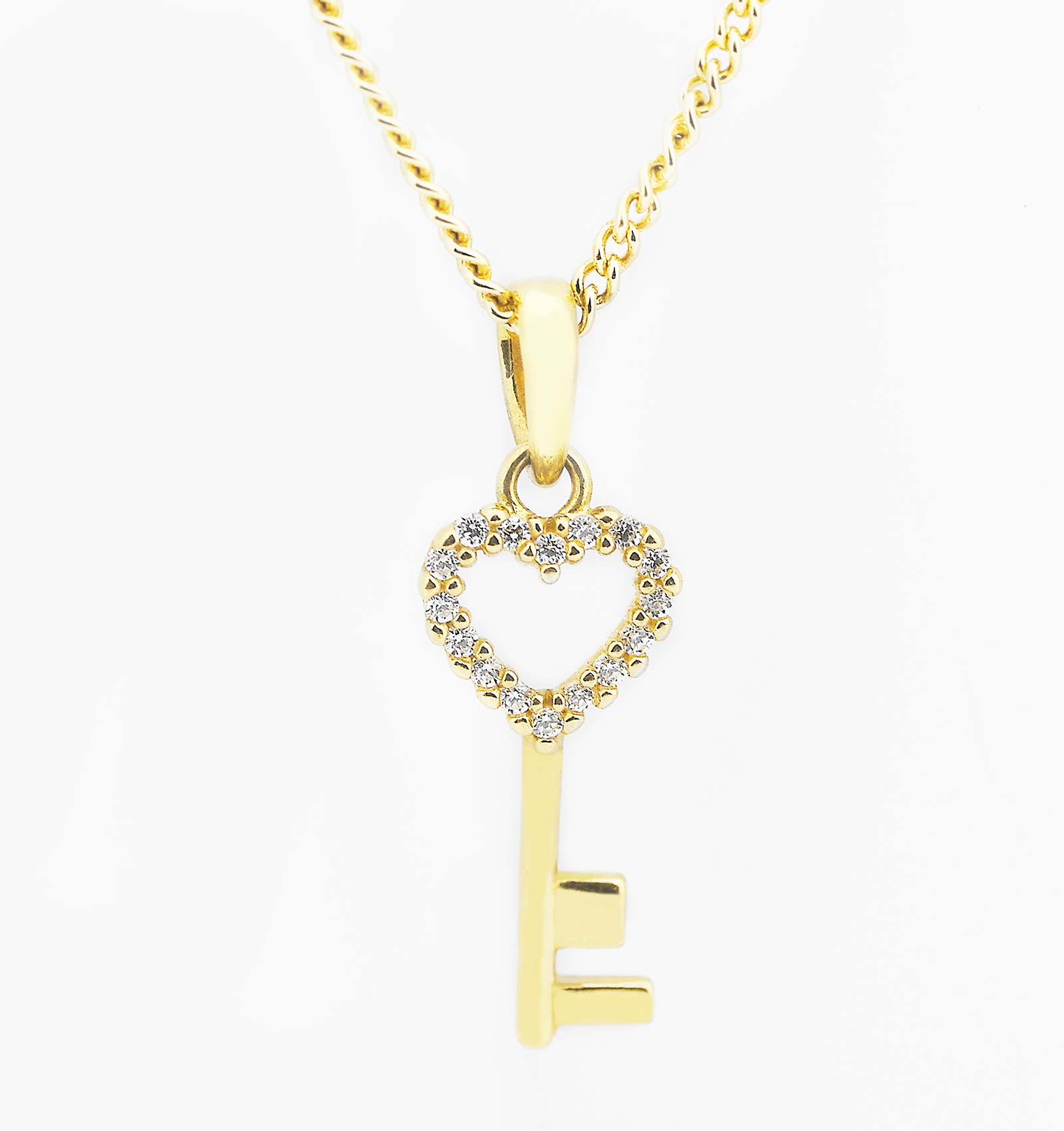 d7a198080d8f Love Heart Key Pendant Necklace In Yellow Gold Diorah Jewellers