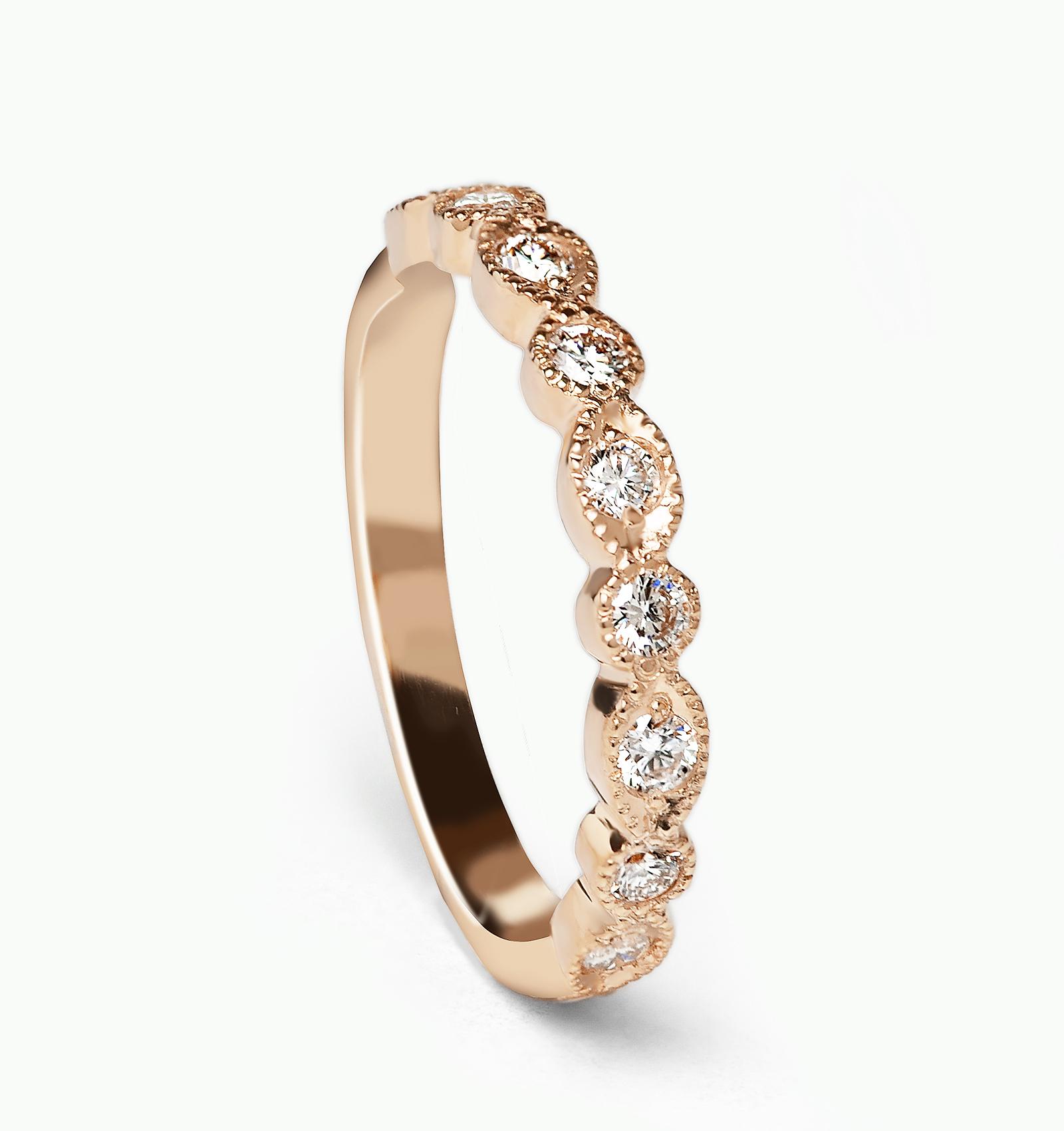 Art Deco Inspired Diamond Half Eternity Wedding Ring in Rose Gold
