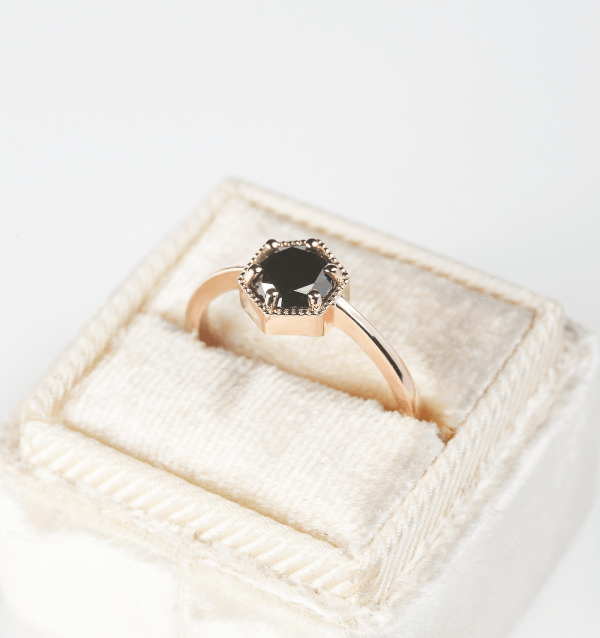 black diamond engagement rings rose gold