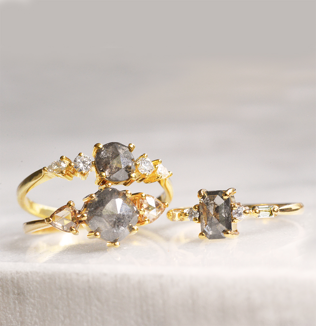 salt and pepper diamond engagement rings