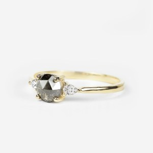salt and pepper diamond ring and pear cut diamond ring