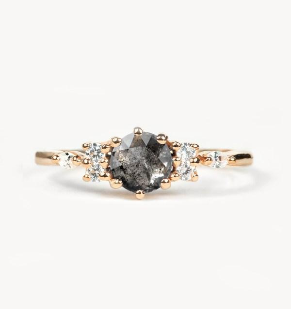 round salt and pepper diamond engagement ring