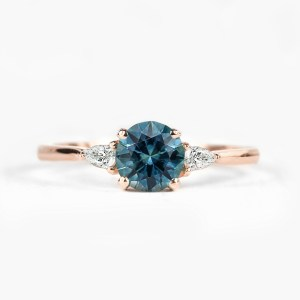 Teal Sapphire engagement ring in three stones ring setting blue green sapphire