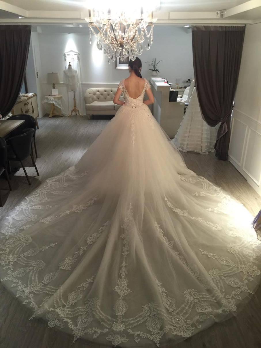 婚紗 x 皇室公主宴客款典雅白紗 » Diosa bridal dress 高級手工禮服