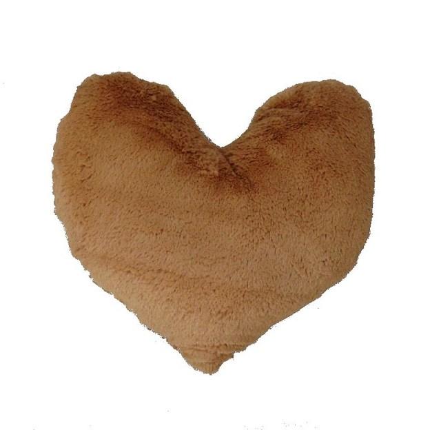 almofada em formato de coração pelúcia bege