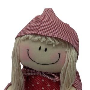 boneca de pano chapeuzinho vermelho com cabelo de barbante