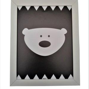 quadro moldura branca com gravura infantil de ursinho