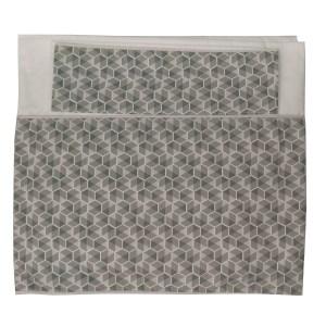 conjunto de lençol de berço 230 fios dobrado branco com barrado estampado cinza