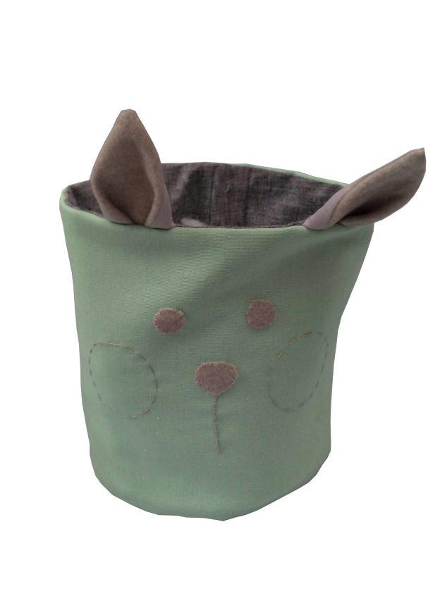 cesto organizador em tecido com orelhas e carinha bordada