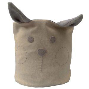 cesto organizador em tecido bege com orelhas e carinha bordada