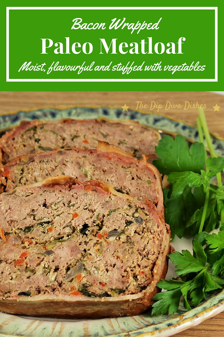 Bacon wrapped paleo meatloaf, moist, flavourful and suffed with vegetables
