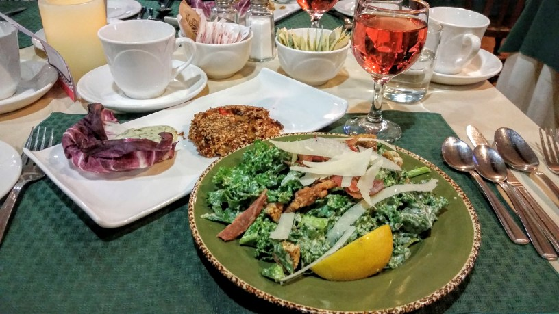 Kale caesar salad and quinoa crab cake
