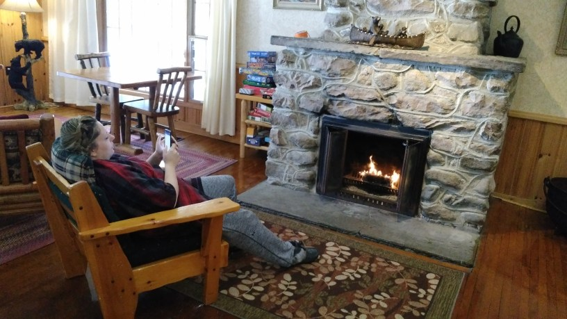 Lounging by the fire in the main Lodge