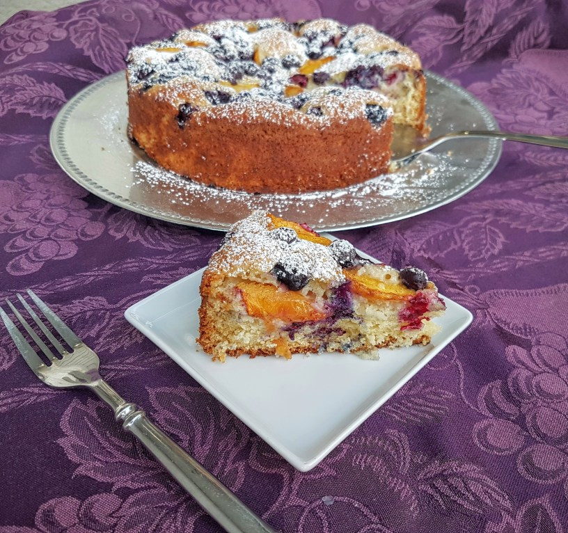Easy Peach and Blueberry yogurt cake