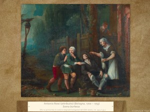 Antonio Rossi (attribuito) (Bologna, 1700 – 1753) | Scena burlesca | Olio su prima tela in cornice originale bolognese del XVIII secolo, cm. 43,5 x 54,2.