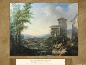 Carlo Lodi (Bologna, 1701 – 1765) | Paesaggio con torre antica | Olio su tela in cornice del XVIII secolo, cm. 36,1 x 46,3.