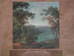 Rodolfo Fantuzzi (Bologna, 1779 – 1832) | Paesaggio con il lago di Albano e Castel Gandolfo | Tempera su prima tela nella sua cornice originale, cm. 121 x 121